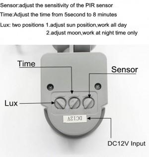 4PCS 12V PIR 10W LED floodlight waterproof spotlight garage security Motion Sensor Time Lux adjustable