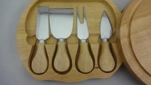4pcs cheese knife set in wooden box,cheese knife