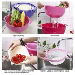 4pcs Colander Set Strainer Basket Plastic Stackable Fruit Vegetable Washing Baskets Drainer Wash Rice Sieve Kitchen Baskets Tool