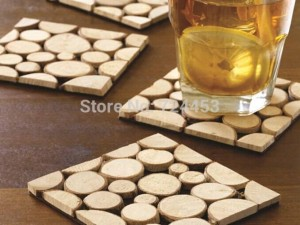 4pcs/pack Solid Wood Cup Mats Pads Tabletop Coaster European Cup Coaster 10x10cm
