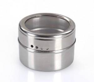 4Pcs Stainless Steel Magnetic Cruet Condiment Spice Jars Salt and Pepper Shaker Seasoning Sprays Cooking Tools
