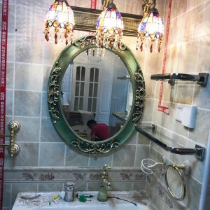50cmx60cm American European Oval Bathroom Mirror Decorative Wall Bathroom Toilet Makeup Mirror Hanging Wall