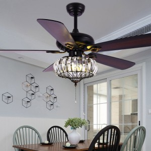 """52"""" Black Metal Ceiling Fan with Lights 5-Blade Ceiling Fans Pull Chains Light Kit Included"""