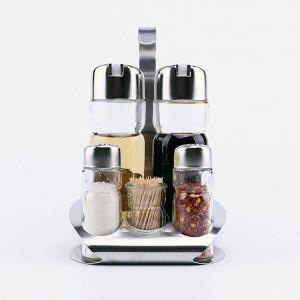 5Pcs Kitchen Glass Spices Bottles Toothpick Holder Seasoning Storage Rack Set Hot