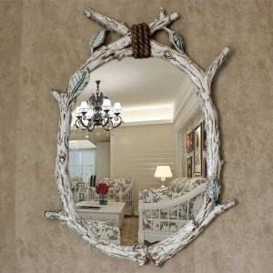 60cmx85cm European American Oval Shaped Wood Imitation Tree Branch Bathroom Makeup wall decorative mirror