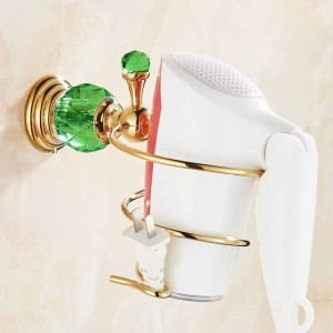 615G Series Golden Polish Brass & Green Crystal Wall Mounted Bathroom Hardware Towel Ring Towel Shelf Hook Paper Holder