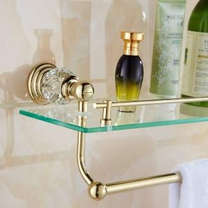 61 Crystal Series Golden Polished Bathroom Shelves Bathroom Accessories Towel Holder Towel Bar&Hook With Glass Dressing Shelf