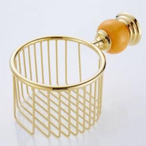 62 Jade Series Golden Polish Brass & Jade Paper Holders Wall Mounted Bathroom Accessories Round Paper Basket Bathroom Shelf