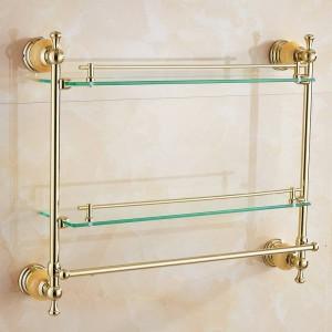 62 Jade Series Golden Polished Double Bathroom Shelves Bathroom Accessories Towel Bar&Hook With Glass Dressing Shelf