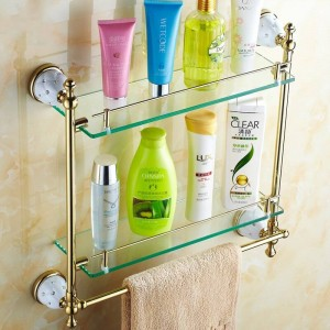 63GD Series Golden Polished Bathroom Shelves With Diamond Towel Holder Towel Bar& Hook With Glass Shelf