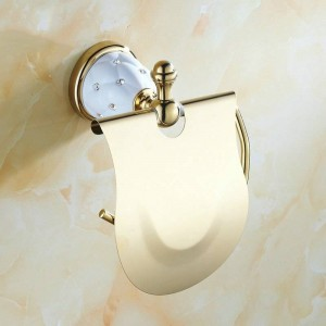 63GD Series Golden Polished Paper Holder with Diamond Wall Mounted Bathroom Accessories Paper Shelf