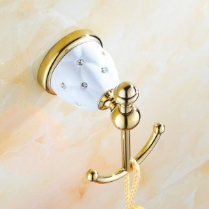 63GD Series Golden Polished Robe Hooks with Diamond Solid Brass Clothes Hook Bathroom Accessories Robe Hooks