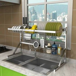 64/84cm Stainless steel drying bowl sink rack drain kitchen rack supplies 2 layer storage rack pool put dish rack cupboard