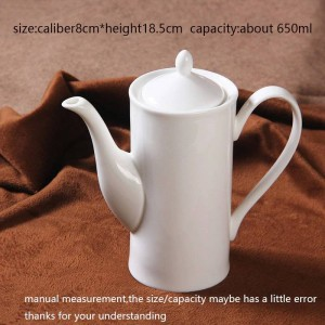 650ml Modern Coffee Milk Pot Ceramic Bone White Handle Teapot Drinkware / Home Juice Tea Water Kettle Afternoon Tea Pots