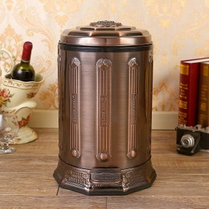 6L stainless steel antique Trash Can Household Garbage Can with Lid bronze Waste Bin for Home Office Kitchen Bathroom black