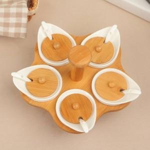 6Pcs/Set Bamboo Wood Ceramics Condiment Spice Jars Set Salt Pepper Shakers Seasoning Sprays Cooking Kitchen Tool