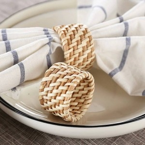 6pcs/Set Solid upscale hotel restaurant napkin folding flower cloth mouth, and handmade rattan napkin ring