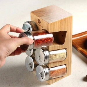 6pcs/set Wood seasoning box Spice jar set Wood seasoning bottle Spices and pepper shakers Salt tank Kitchen supplies