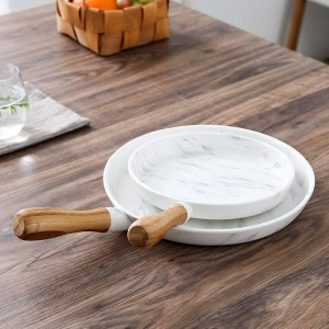8 and 10 inch Wooden handle Marble dinner Plate Dish set Dessert Plate Dinnerware Cake dish dessert tray