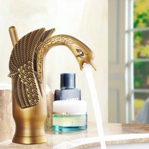 """8"""" Antique Brass Swan Faucets Bathroom Basin Brass Faucet Crane Sink Basin Mixer Tap 9001A"""