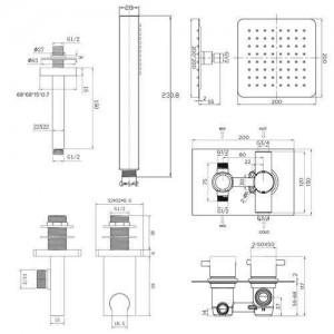 "8"" Ceiling Square Thermostatic Mixer Shower Ultra Thin Head Bathroom Chrome Valve Set"