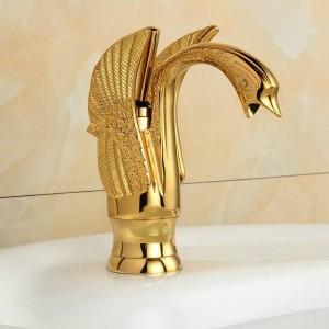 "8"" Golden Polished Swan Faucets Bathroom Basin Faucet Mixer Tap 9001G"