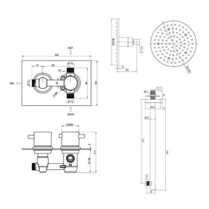 "8"" Round LED Thermostatic Mixer Shower Kit Modern Bathroom Concealed Set"