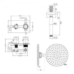 "8"" Round Mixer Shower Ceiling Head Thermostatic Chrome Valve Bathroom Set"