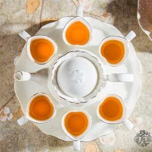 8PIECES European style ceramic tea set bone tea set with tray English afternoon tea fruit tea and flower tea
