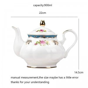 900ml European Style Garden Afternoon Tea Pots Teapot Ceramic Bone Water Pot / Home Drinkware Milk Tea Water Filter Kettle