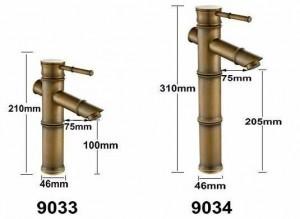 "9"" Antique Brass Faucet Bamboo Faucets crane Bathroom Sink Basin Mixer Tap 9033A"
