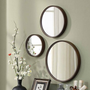 A1 1pack style wood round bathroom mirror wall hanging bedroom mirror dressing table decoration makeup mirror wx8231340