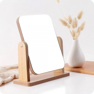 A1 Wooden makeup mirror desktop vanity mirror bedroom beauty princess mirror portable desktop mirror wx8291750