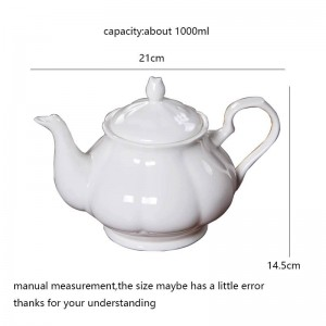 About 1000ml Modern Coffee Milk Pot Ceramic Bone White Teapot Drinkware / Garden Afternoon Tea Pots Black Tea Kettles Gift