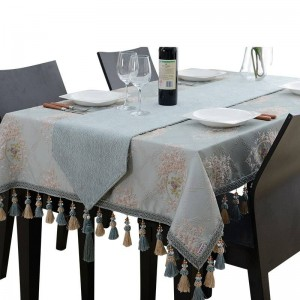 Amazing Design Embroidered Table Cloth Luxury Blue Jacquard Tassel Toalha De Mesa Royal N Linen Dinning Table Covers