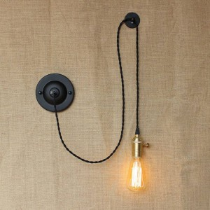 American country DIY art creative wall lamps vintage Industrial Wall Sconce with knob switch for bedroom bedside reading light