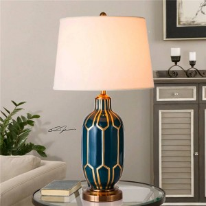 American LED Table Lamps Dimming Idyllic Blue Hand-painted Ceramic Desk Lamp Home Living Room Bedroom Hotel Table Lamp Avize
