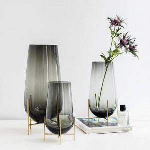 American Light Luxury Glass Vase Decoration Home Decoration Living Room Model Room Soft Decoration