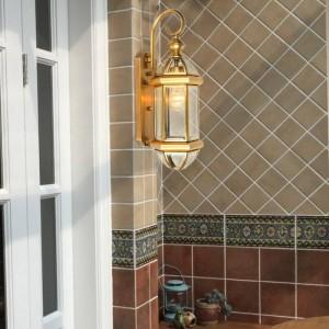 American Style Copper Wall Lamp Outdoor Waterproof Balcony Courtyard Aisle Lamps Country Decor wall light Led Arandela