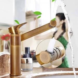 Amibronze Brass Basin Faucets 360 Swivel Fold Lucky Cat Faucet Bathroom Basin Hot Cold Mixer Tap Chrome/Antique/Gold 812S