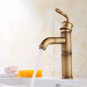 Antique Brass Faucet Bamboo Faucets crane Bathroom Sink Basin Mixer Tap XT939