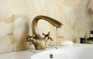 Antique Brass Faucets Bathroom Faucet crane basin Sink Mixer Tap goose neck 9021A