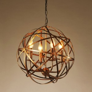 Antique Brass Warehouse Orb Cage 4-Light Suspended Metal Globe Candle-Style Chandelier