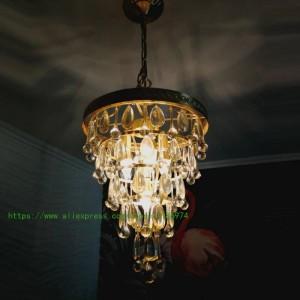 Antique Copper Pendant Light for dining room Restaurant Gold Crystal drop light Entrance Pendant Lamp Balcony Lights Lustre