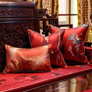 Antique Embroidery Cushion Cover Red Plant Cojines Decorativos Para Sofa Throw Pillow Covers Soft Cushions Housse De Coussin