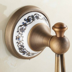 Antique Porcelain Brass Clothes Hook Wall Mounted Bathroom Accessories Robe Hooks 7001AJP