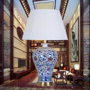 Art porcelain ceramic table lamp bedroom living room wedding table lamp blue white lamp modern table