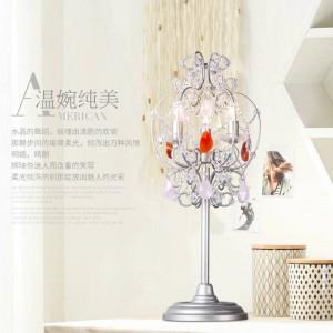 Athena crystal candle holders Led candlestick Pink Crystal standing Lamp for dressing room Bedside Led wedding table Lamp Abajur