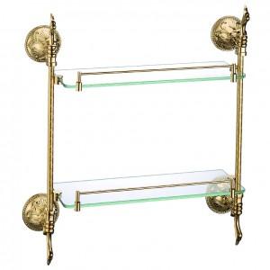 Atre Gold Finish Dual Tier Bathroom Shelf Wall Mounted Glass Shelf with Rail Solid Brass