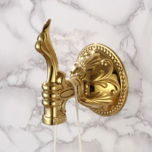 Atre Luxurious Gold Classical Carved Single Wall Mounted Robe Hook for Bathroom
